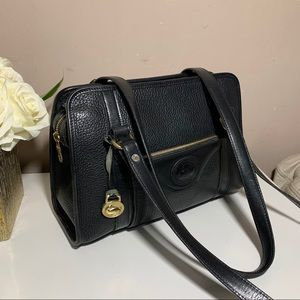 DOONEY & BOURKE Black Pebbled Leather Satchel Bag